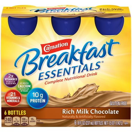 Carnation Breakfast Drink - Carnation Breakfast Essentials, Rich Milk Chocolate, 8 fl. oz. Bottles, 6 Count