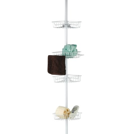 Vista Tension Pole 4 Tier Corner Bath Tub Adjustable Shower Caddy White