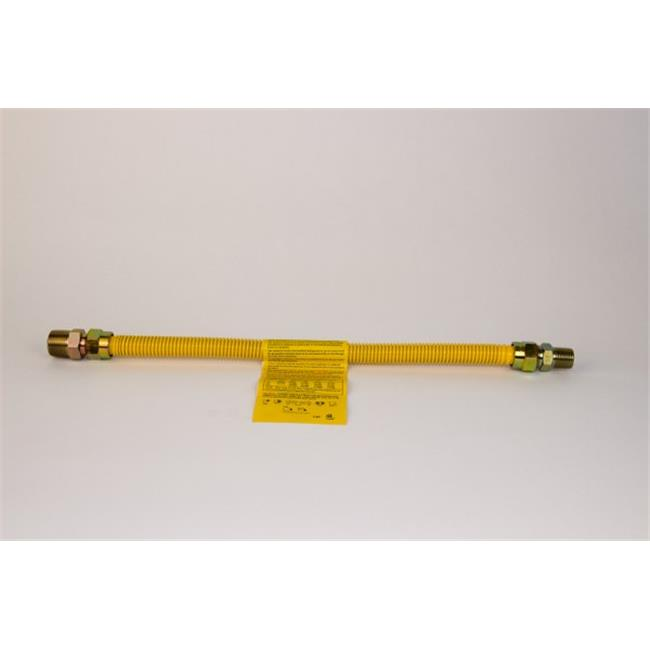 Charman 800-12-B3-72 Yellow Coated Gas Connector - 1/2 inch OD 1/2 inch FIP x 1/2 inch FIP - 72 inch (Pack of 2)