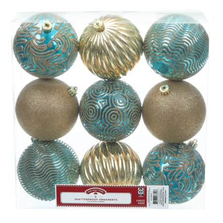 Holiday Time Shatterproof Ornaments, 9-Count, Blue Gold Holiday Pierced Ornament