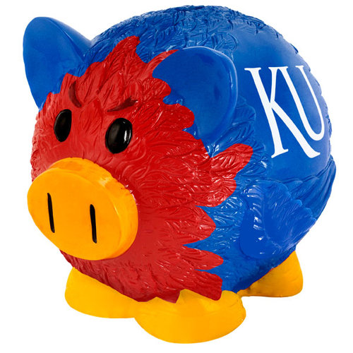 Forever Collectibles NCAA Kansas Jayhawks Thematic Resin Piggy Bank by Overstock
