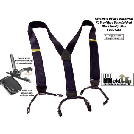 Hold-Ups XL Satin Finished dark Steel Blue Corporate Series Double-ups Style Suspenders with No-slip clips - Blue Suspenders