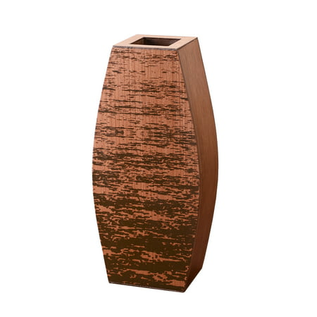 "Villacera Mango Wood 15"" Cylinder Floor Vase 