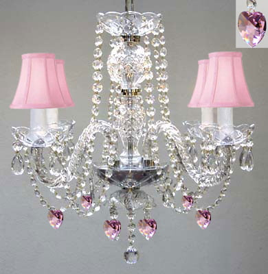 "Chandelier With Pink Shades And Hearts! H 17"" Perfect For Kid's by Gallery"