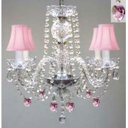 "Chandelier With Pink Shades And Hearts! H 17"" - Perfect For Kid's"