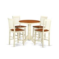 East West Furniture EDVN5-WHI-W Eden Counter Height Dining Pub Table & 4 Kitchen Bar Stool, White