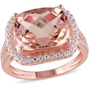 5-1/2 Carat T.G.W. Simulated Morganite and Cubic Zirconia Rose Rhodium-Plated Sterling Silver Halo Cocktail Ring