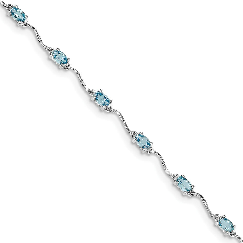 Sterling Silver Blue Simulated Topaz Bracelet with Secure Lobster Lock Clasp (3mm) by AA Jewels