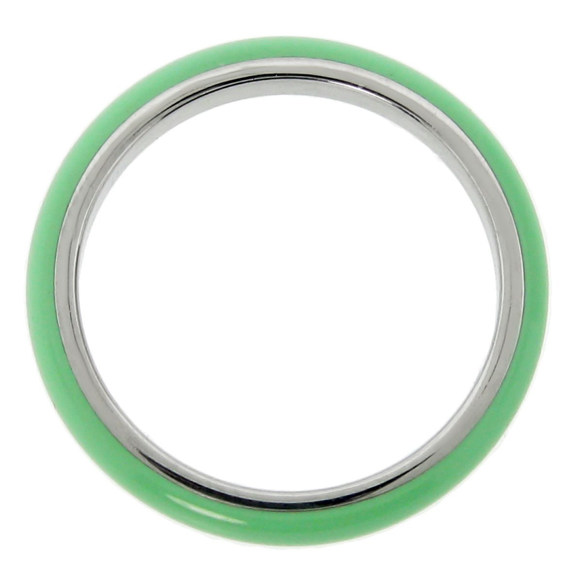 Metro Jewelry Stainless Steel Thin Ring with Green Enamel