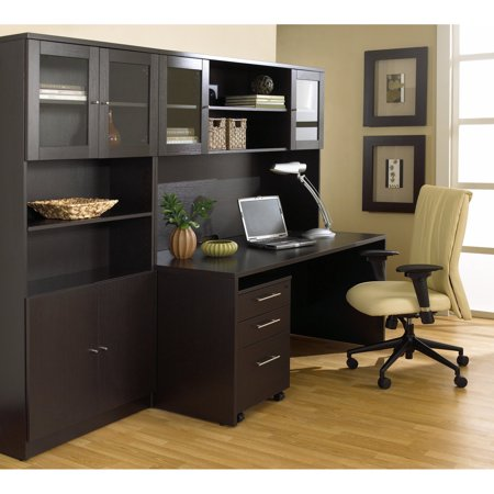 Jesper Office 100 Series Executive Desk And Hutch With Bookcase Cherry