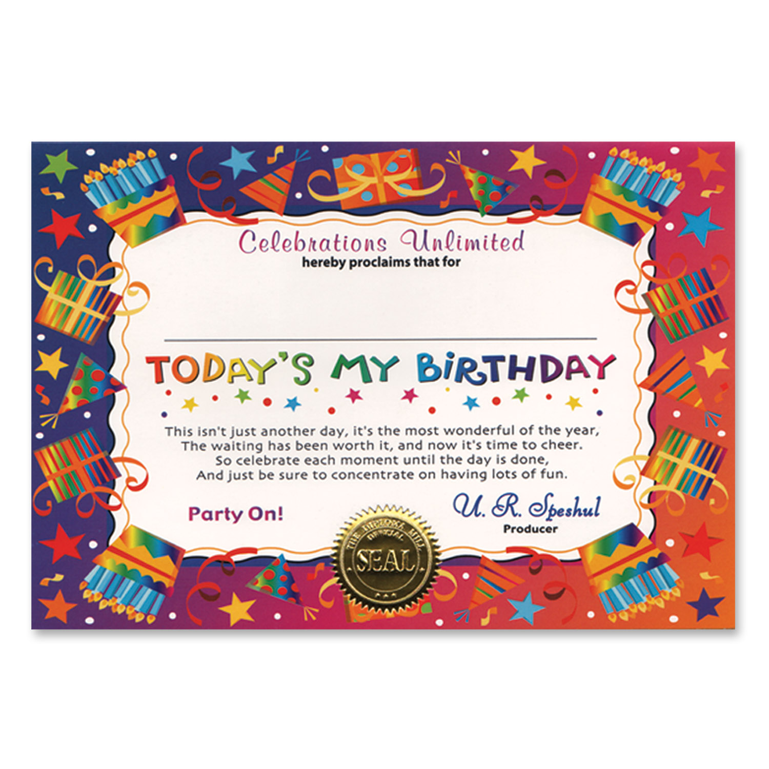today s my birthday certificate pack of 6