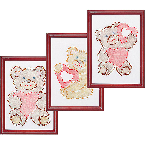 """Stamped Embroidery Kit Beginner Samplers 6"""" x 8"""" 3 per package, Fuzzy Bears"""