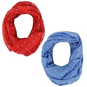Peach Couture Anchor Print Cute Trendy All season Infinity Loop Scarves 2 Pack Red and Blue