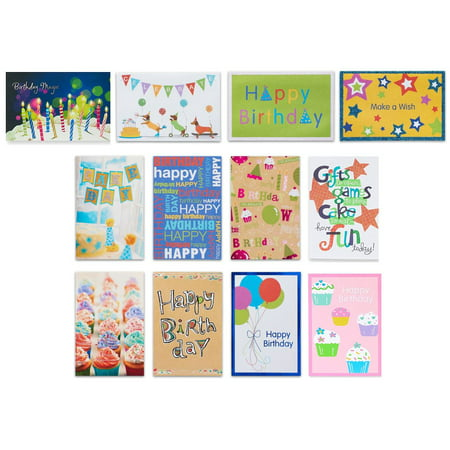 American Greetings 12 Count Birthday Cards and White Envelopes, Assorted