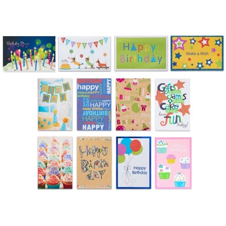 - American Greetings 12 Count Birthday Cards and White Envelopes, Assorted