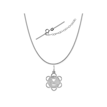 Disco Chain (Sterling Silver Anti-Tarnish Treated Holy Communion Disc Charm on a Box Chain, 18