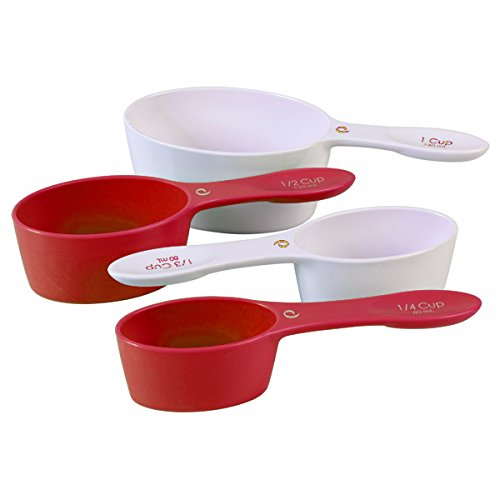 Prepworks By Progressive Set Of 4 Red White Magnetic Handle Oval Measuring Cups