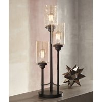 Franklin Iron Works Modern Industrial Console Table Lamp Bronze 3-Light Amber Seedy Glass Shade for Living Room Bedroom Office