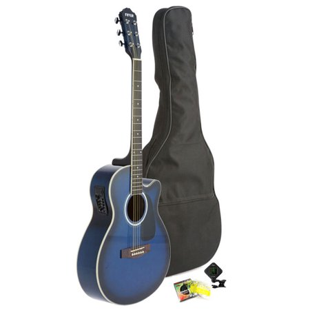 fever full size jumbo body steel string acoustic electric guitar blue with bag tuner and. Black Bedroom Furniture Sets. Home Design Ideas