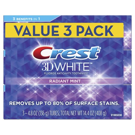 - Crest 3D White Whitening Toothpaste, Radiant Mint, 4.8 oz, Pack of 3
