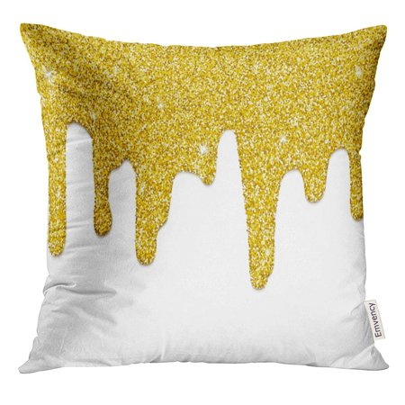 - CMFUN Yellow Molten Dripping Gold Border Repeatable of Golden Paint Flow Down Raster Metallic Pillow Case 20x20 Inches Pillowcase