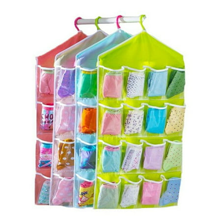 3PCS 16 Pockets Clear Over Door Hanging Bag Shoe Rack Hanger Underwear Socks Bra Closet Storage Tidy Organizer With 9 Discount(2Green+Blue) ()