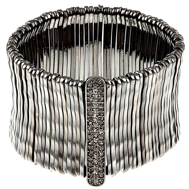 Celeste 622b-0070BD Celeste Jet Black Bamboo Bar Pave-Set Crystal Stretch Bracelet - image 1 of 1