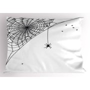 Spider Web Pillow Sham Corner Cobweb with a Hanging Insect Hand Drawn Style Gothic Design with Flies, Decorative Standard Queen Size Printed Pillowcase, 30 X 20 Inches, Black White, by Ambesonne