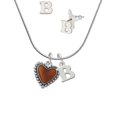 Translucent Brown Heart with Beaded Border - B Initial Charm Necklace and Stud Earrings Jewelry Set