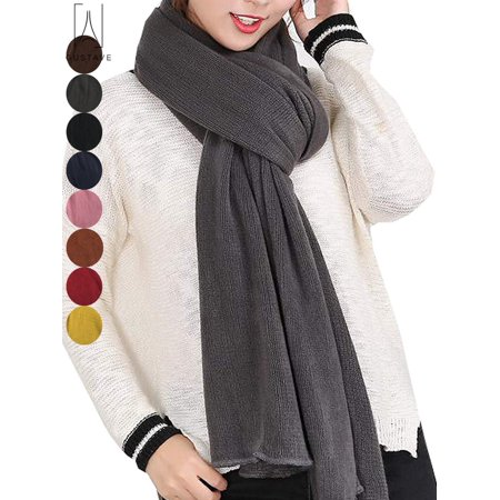 GustaveDesign Large Soft Pure Cashmere Scarves for Men & Women Winter Warm Infinity Scarves Set Blanket Scarf Pure Color