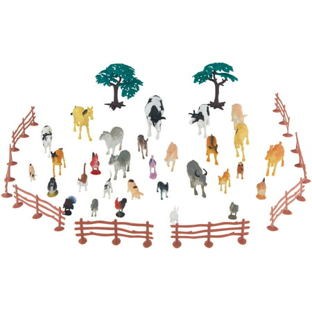 Adventure Force 40-Piece Farm Animals Big Bucket with Handle, Assorted