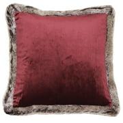 Riva Home Kiruna Faux Fur Edged Velvet Style Square Cushion Cover
