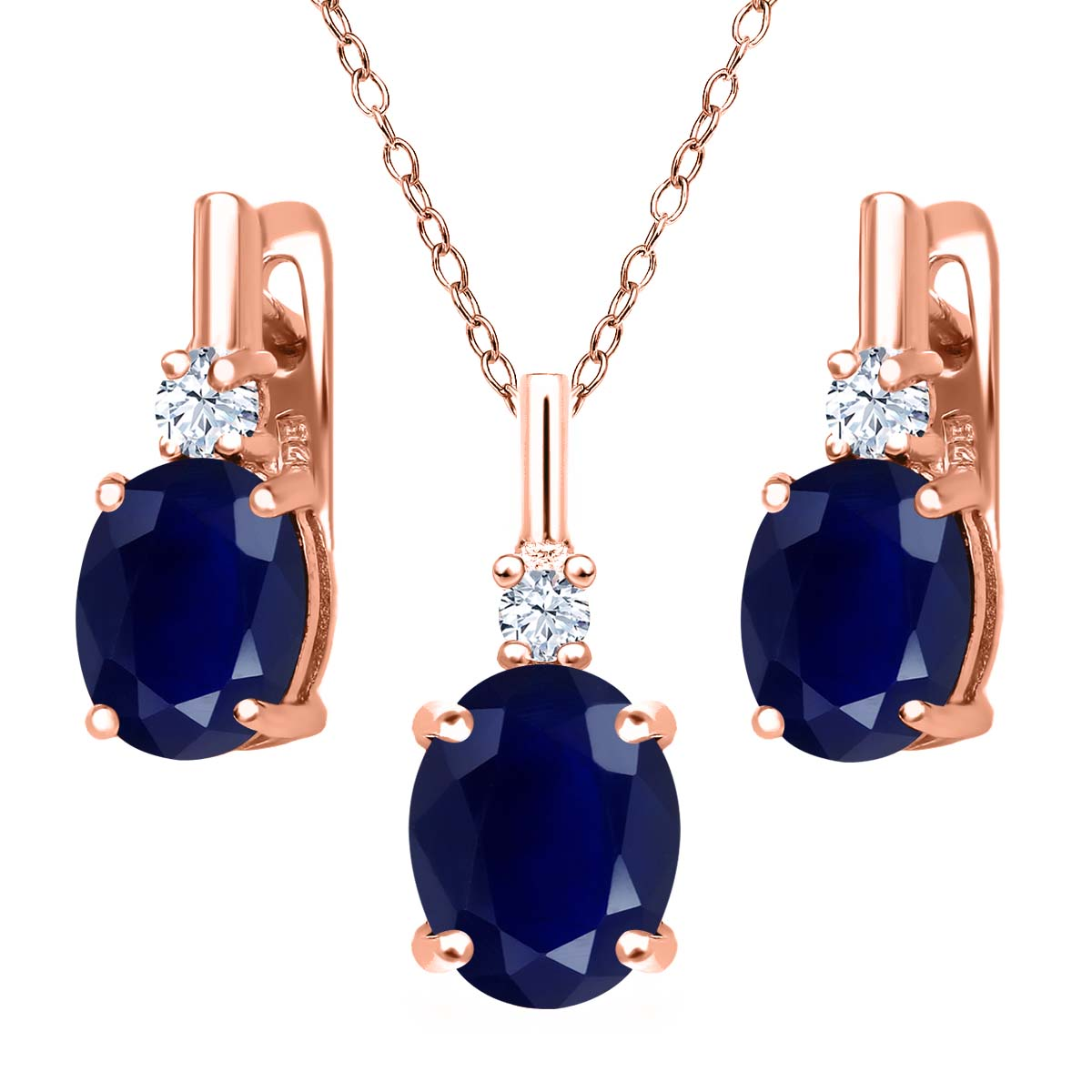7.58 Ct Blue Sapphire White Topaz 18K Rose Gold Plated Silver Pendant Earrings Set by