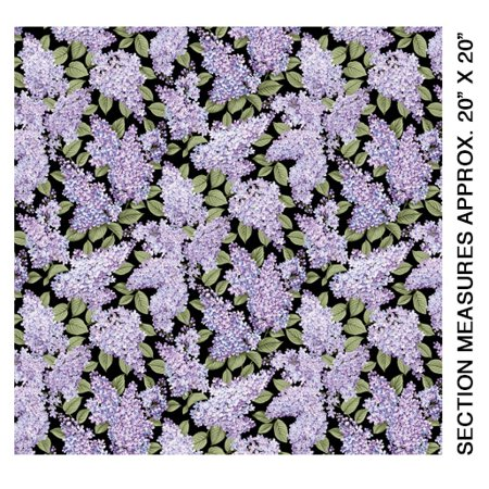 Lilacs in Bloom~Large Lilacs/Black Cotton Fabric by Benartex