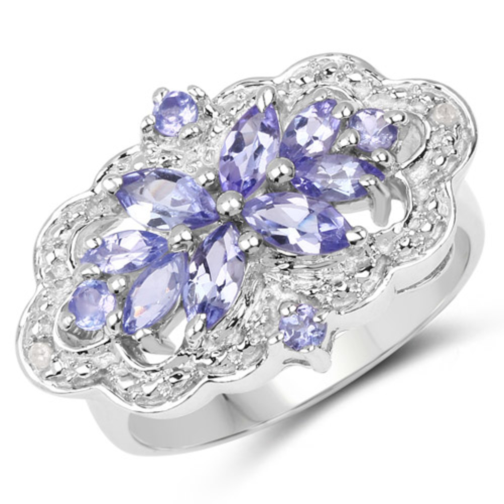 Genuine Marquise Tanzanite Ring in Sterling Silver Size 7.00 by Bonyak Jewelry