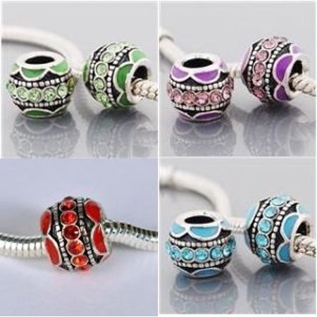 Pack of Four (4) Green, Blue, Purple, Red Enamel Rhinestone Charm Bead. Compatible With Most Pandora Style Charm