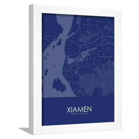 Xiamen china blue map framed poster wall art walmart gumiabroncs Gallery
