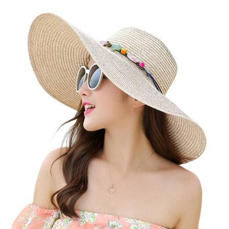 5a08867f Akoyovwerve - Beach Hat,Akoyovwerve Travel Foldable Wide Brim UV Protection  Floppy Summer Cap Sun Hat for Women Girls Khaki - Walmart.com