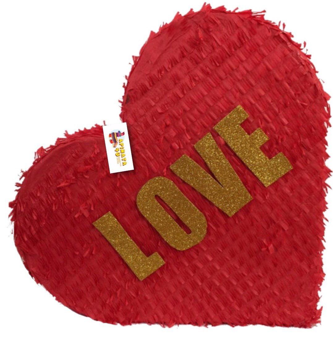 APINATA4U Red & Gold LOVE Heart Pinata