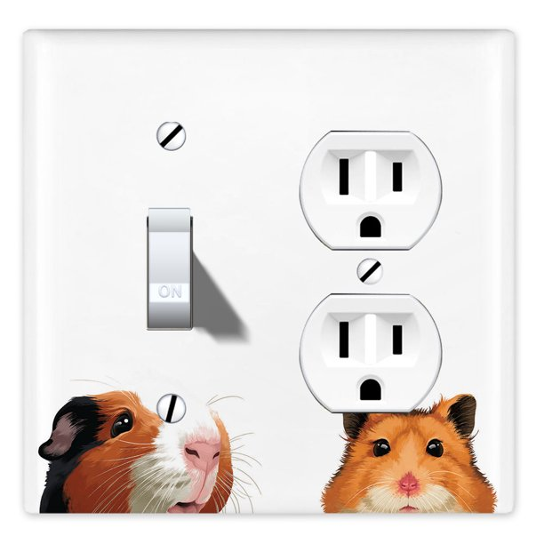 Wirester Double 1 Gang Toggle Light And 1 Gang Duplex Outlet Switch Plate Wall Plate Cover Animal Guinea Pig Hamster Walmart Com Walmart Com