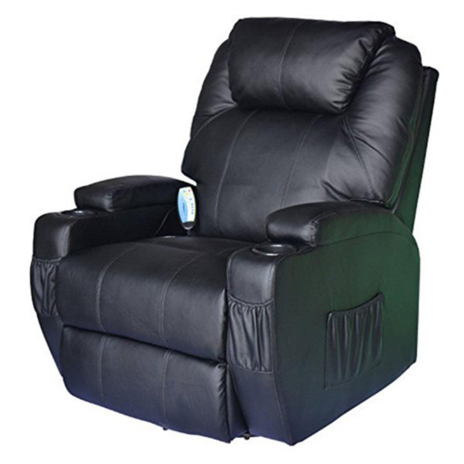 HomCom Heating Vibrating PU Leather Massage Recliner Chair