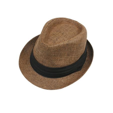 Fashion Men Women Straw Hat Contrast Ribbon Fedora Curly Brim Unisex Panama Jazz Trilby Hat Cap - image 5 de 5