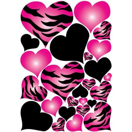 Jungle Wall Decor (Hot Pink Radial, Zebra Print Heart Wall Decals Stickers / Jungle Safari Hearts Wall)