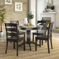 Lexington 5-Piece Wood Dining Round Table and 4 Ladder Back Chairs, Multiple Finishes