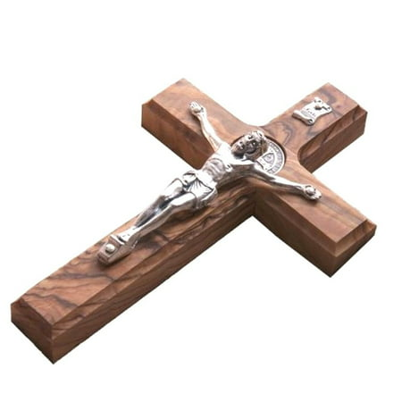 Holy Land Handmade St. Saint Benedict Wall Wood Cross Crucifix Silver Plated for $<!---->