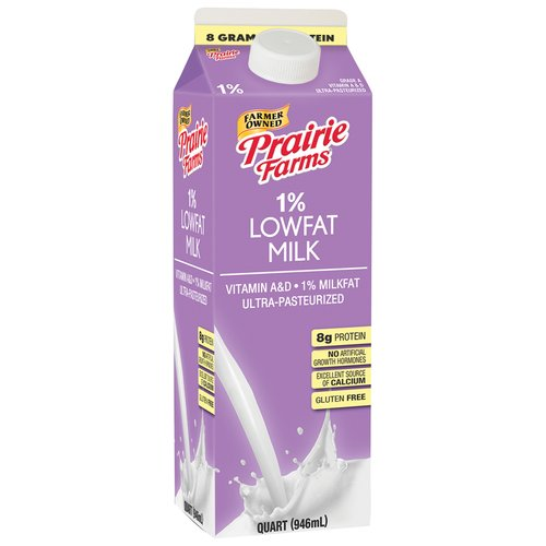 Prairie Farms 1% Lowfat Milk, 1 qt