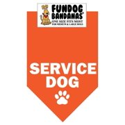 Fun Dog Bandana - SERVICE DOG - One Size Fits Most for Med to Lg Dogs, orange pet scarf