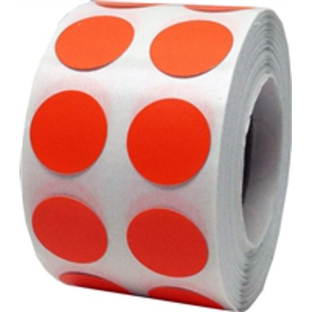 Hot orange circle dot stickers 1 2 inch round 1000 for Half inch round labels