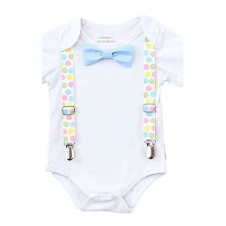 Noah's Boytique Baby Boys Easter Bunny Picture Outfit Dots Light Blue Bow Tie 12-18 Months - Easter Bunny Baby Outfit