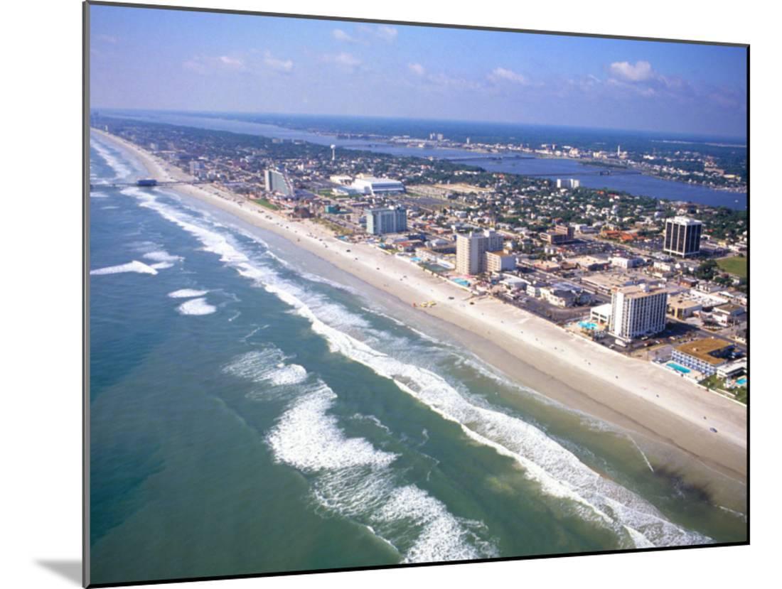 Beach Aerial, Daytona Beach, Florida Wood Mounted Print